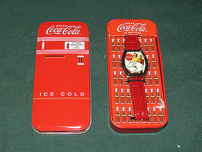 #227 New Old Stock Collectible Coca Cola Watch In Tin Old Advertisement Face