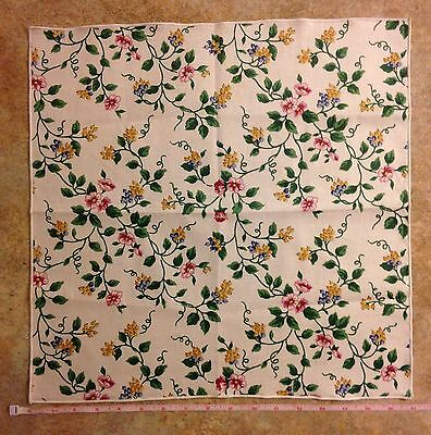 NEW, Longaberger White Vine Floral Fabric Napkin - Pink/Yellow/Blue/Green/White