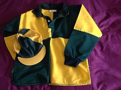 """XC Shirt,,Hat Silk,  32"""" CHILD, SMALL ADULT,, GREEN and GOLD, NEW CONDITION,,"""