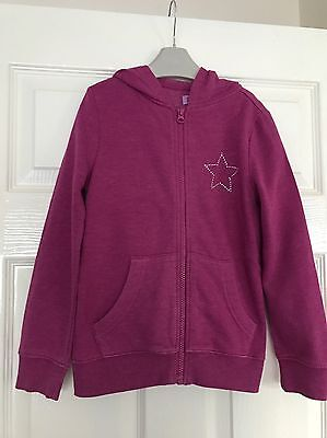 Girls Pink Hooded Zip Up Jacket - Size 7-8 - F&F Clothing