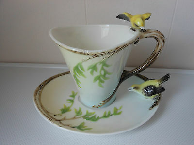Graff Porcelain Cup And Saucer Decorated With Birds