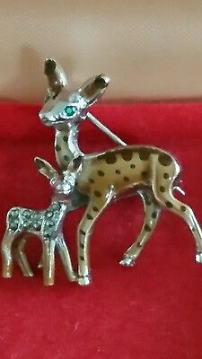 Vintage ~ 1940's Enamel And Marcasite Bambi Brooch