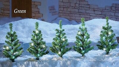 Set of 5 Solar Powered Lighted Evergreen Pine Christmas Trees Pathway Lights