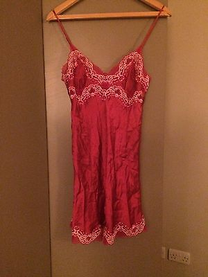 Silk Red and Lace Chemise- Size S