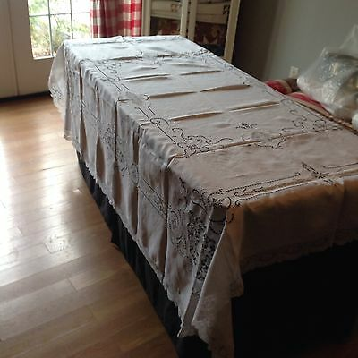 Antique Linen Tablecloth With Cutwork and Lace Inserts 72 x 90