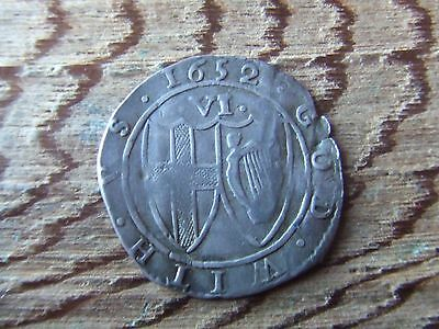 Oliver Cromwell.  Commonwealth.  1652.  Silver Sixpence. Rare  Nice Condition.