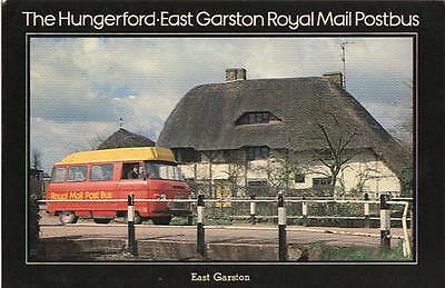 The Hungerford: East Garston Royal Mail Postbus 1980 Postcard with stamp