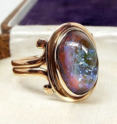 Antique Victorian 10ct Rose Gold Large Opal Glass Doublet Ring / Size Q / 9ct
