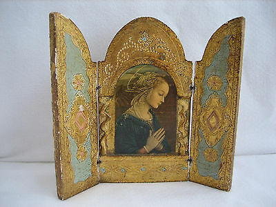 Vintage Small Gold Painted ADORATION Tri-Fold Triptych - Firenze - Lippi - Italy