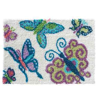 Stylish Butterfly Printed Canvas Latch Hook Rug Kit - *NEW* Everything included