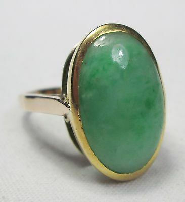 Large Chunky Vintage 9ct Gold Natural Jade Cabochon Cocktail Dress Ring