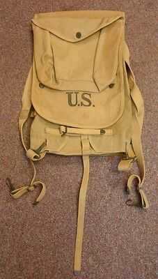 US Army WW1 Era 1918 Canvas Haversack with Meat Can Pouch