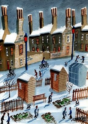 'SNOW AT THE ALLOTMENTS' ORIGINAL WATERCOLOUR PAINTING BY JOHN ORMSBY, 20x30cm