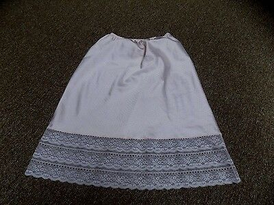 Vintage Pink Dotted Poly Satin Lace Trimmed Barbizon Half Slip Small