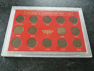 GEORGE V Farthing set for the Years 1924 to 1936