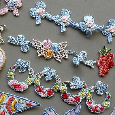 Vintage HAND EMBROIDERED Appliques