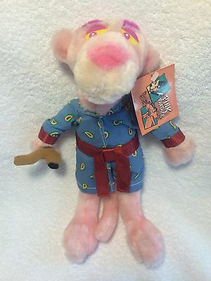 "Pink Panther Plush With Tags Smoking Jacket Robe Pipe 12"" Stuffed Animal"