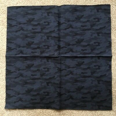 Hugo Boss Navy Blue & Black Camo Print Cotton Pocket Square Bnwt Made In Italy