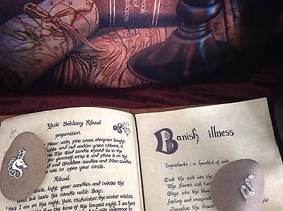 Book Of Shadows Leather Book 180+ Pages Info Spells, Etc Pentacle Charm