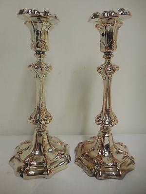 """Pair of beautiful antique silver plated candlestick holders 11"""" x 5"""" ornate"""