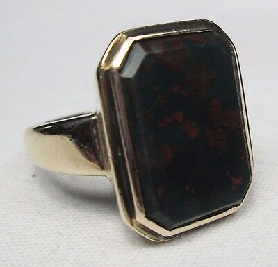 Antique Victorian 9ct Solid Rose Gold Mens Scottish Bloodstone Solitaire Ring