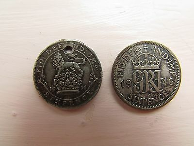 Two Silver Sixpence Coins 1911 And 1946
