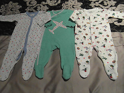 3 x Baby Boys NEXT Sleepsuits Babygrows size 3-6 months