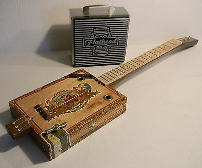 "3 String CBG & Amp Cigar Box Guitar 21"" Fretted Curly Maple Acoustic/Electric"