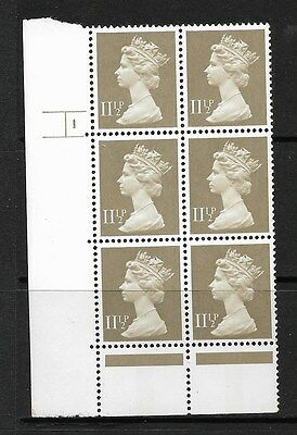 QE2 MACHIN CYLINDER BLOCK OF 6 - 11½p DRAB CB HARRISON X893 CYL 1 PHOS 31  NHM