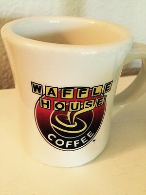 Vintage TUXTON Rounded WAFFLE HOUSE Advertising Coffee Cup Mug Heavy Ceramic FUN