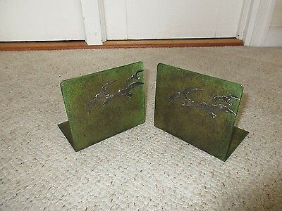Antique Heintz Art Metal Shop Verde Bronze Sterling Silver Seagull Bookends 7114