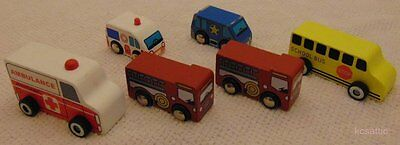 Wooden Vehicle Lot Ambulance Fire Truck School Bus Police Car
