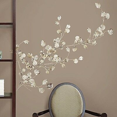 RoomMates ROOMMATES RMK1677GM Silver Dollar Branch Peel and Stick Giant Wall