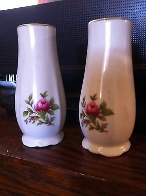 "Pink Rose 4"" Salt Pepper China Shakers"