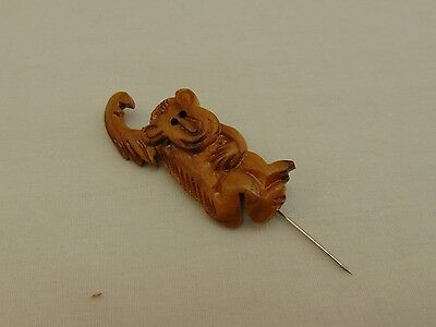 Vintage Olive Wood Monkey Pin Made in West Bank Israel