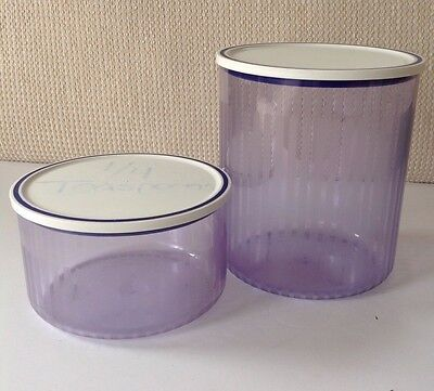 Tupperware Blue Stripe Canisters Lot of 2 w Lids Acrylic Stackable 1 L & 2 L