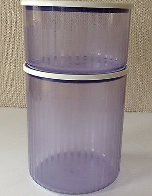 2 Tupperware Blue Stripe Stackable Canisters with Lids Acrylic 1 L & 2 L  NICE