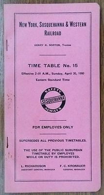 Susquehanna NYS&W Employee Timetable Number 15 - 4/30/1950