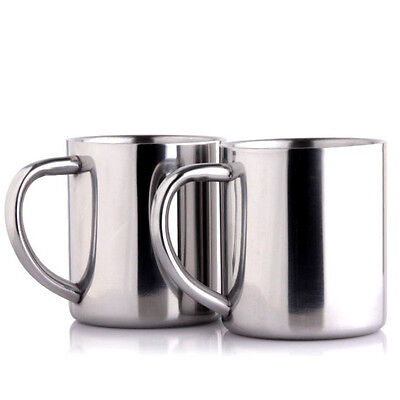 Stainless Steel Mug Double Wall Tumbler With grip Handle Coffee Tea Cup Travel