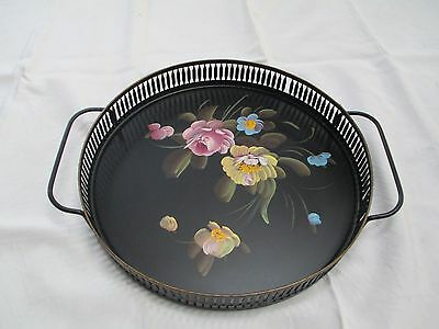 "Vtg 12"" Round Metal Black Tole Ware Hand Painted Serving Tray W/Handles Fine Art"
