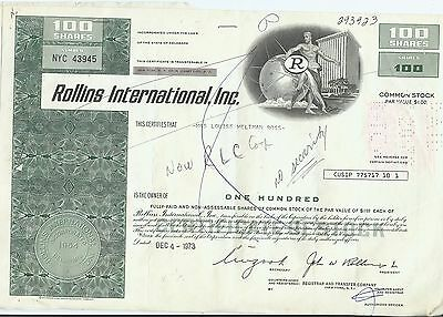 Rollins International, Inc. Stock Certificate 100 Shares Issued 1973