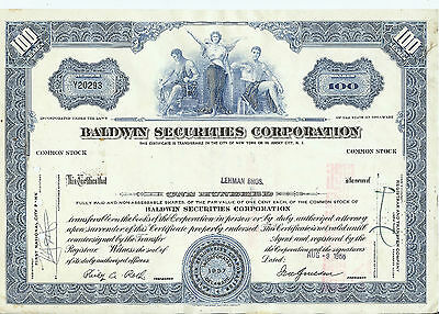 Baldwin Securities Corporation Stock Certificate 100 Shares Issued 1966