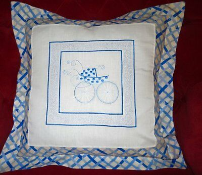 "Darling 16"" Hand-Made Pillow/cushion Cover  W/ Embroidered Blue Antique Buggy"