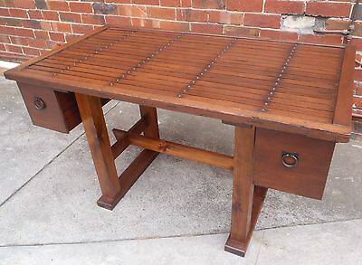 Japanese Wooden Table Desk Made From Studded Antique Door With Drawers
