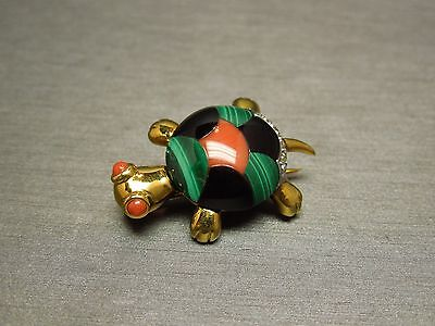 Vintage Estate C1980 14K Gold Coral Onyx Malachite Diamond Turtle Pin / Brooch