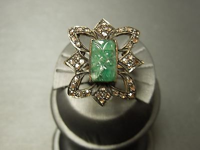 Vintage Estate C1970 Art Nouveau Style 14K & Silver 6.50TCW Carved Emerald Ring