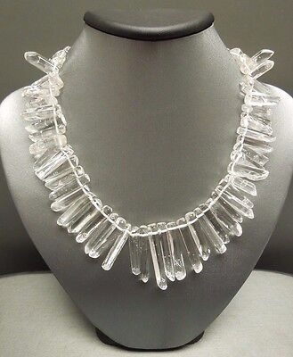 Ancient Roman Cleopatra Style Sterling Quartz Rock Crystal Necklace 15.75""