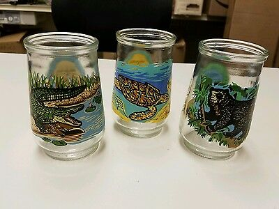 Welch's Jelly Jars Glasses Endangered Species Collection Crocodile Bear Turtle