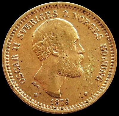 1876 St Gold Sweden 10 Kronor Oscar Ii Coin About Uncirculated Condition