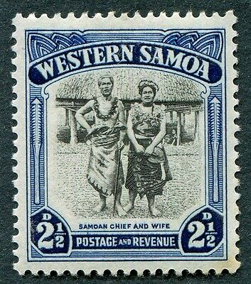 SAMOA 1935 2 1/2d black and blue SG183 mint MH FG Chief and Wife #W6